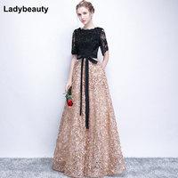 Ladybeauty Vintage Black A Line Lace Long Evening Dresses Half Sleeves Beaded scoop neck long appliques evening dress prom dress