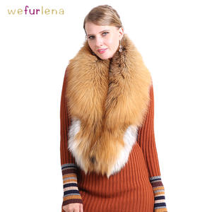 Fur Shawl Fluffy Scarf Fox-Fur-Collar Natural Women Luxurious Real Red Down-Wear Wholesale