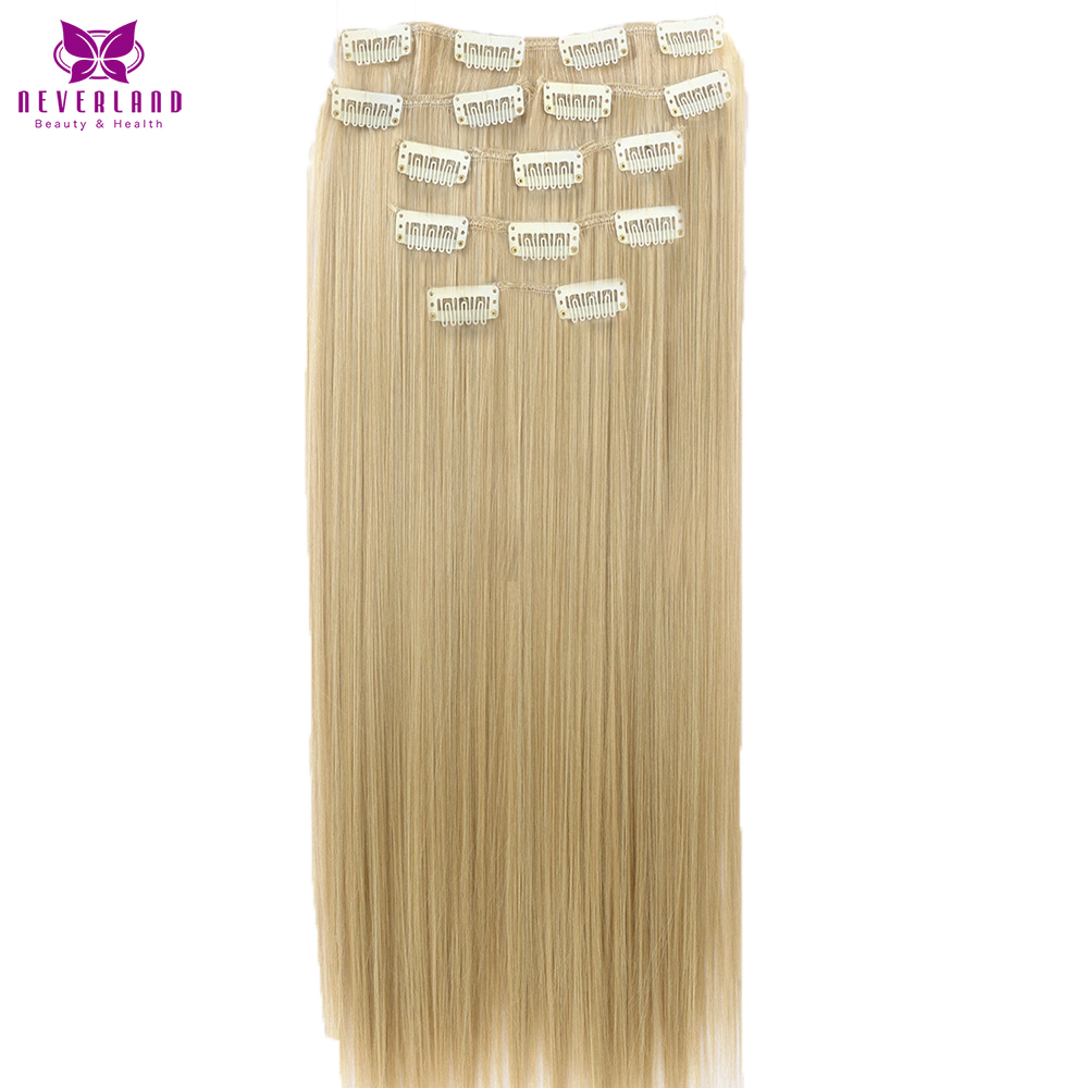 Neverland Beauty Health 7pcs set 16Clips 24 Hairpiece Natural Straight Color Synthetic Clip in Full Head