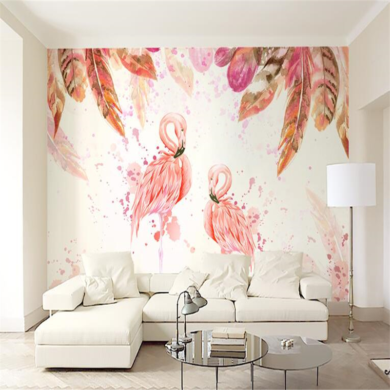 beibehang Custom photo mural pink flamingo hand painted watercolor feather wall papers home decor 3d duvar kagidi papel de pared beibehang custom photo floor painted