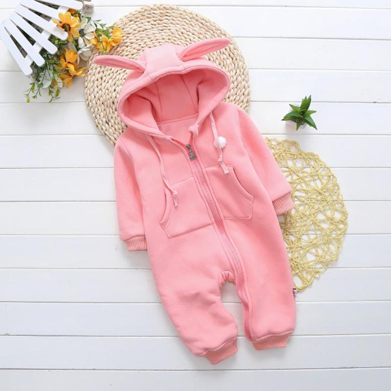 Soft Newborn baby clothes Rabbit Ear baby girl boy rompers hooded plush jumpsuit winter overalls for kids roupa menina WD2 newborn baby boy rompers autumn winter rabbit long sleeve boy clothes jumpsuits baby girl romper toddler overalls clothing