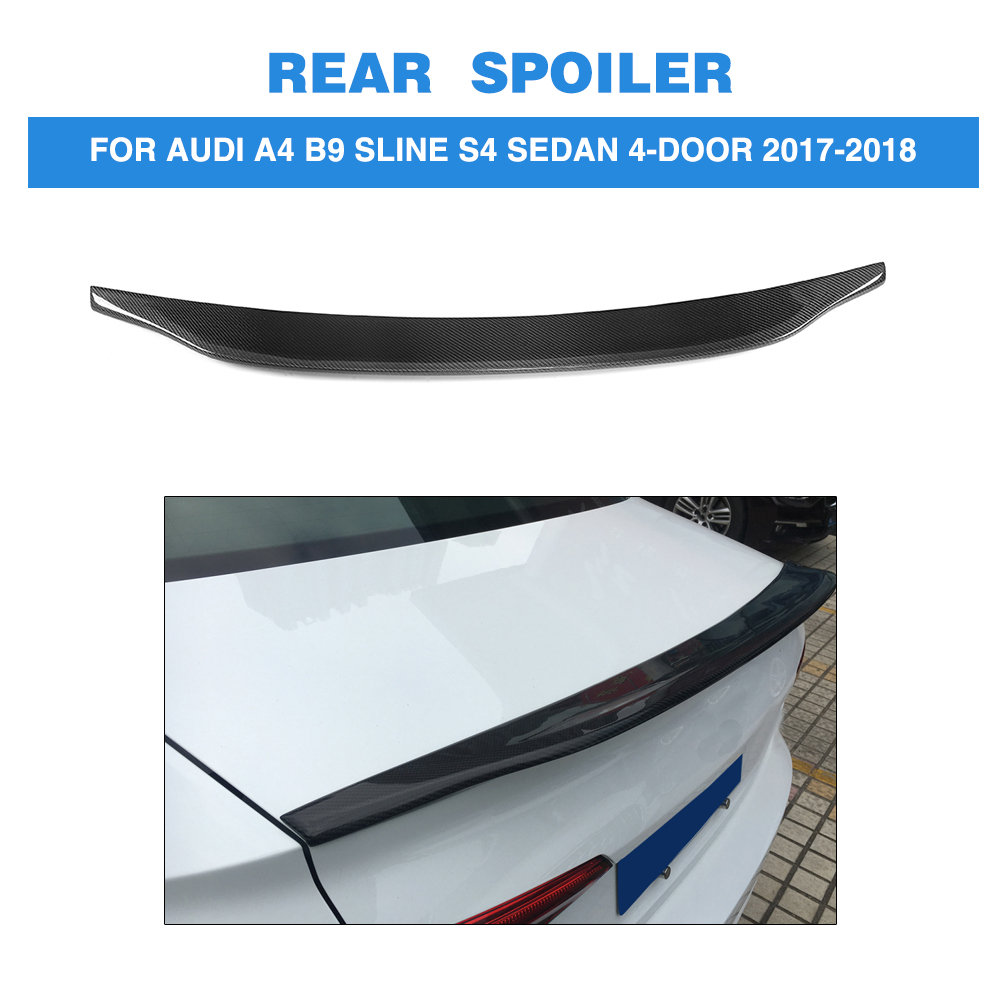Carbon Fiber C Style Car Rear Boot Wing Lip Spoiler For Audi A4 B8 B9 Sedan 4 Door 2009-2018 pu rear wing spoiler for audi 2010 2011 2012 auto car boot lip wing spoiler unpainted grey primer