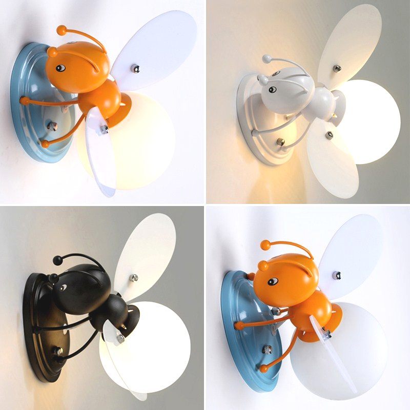 Creative Led Children's Wall Lamp Bees Boy Girl Bedside Lamp modern mirror lights novelty glass wall lamps Cartoon wall sconce novelty led wall lamps glass ball wall lights for home decor e27 ac220v