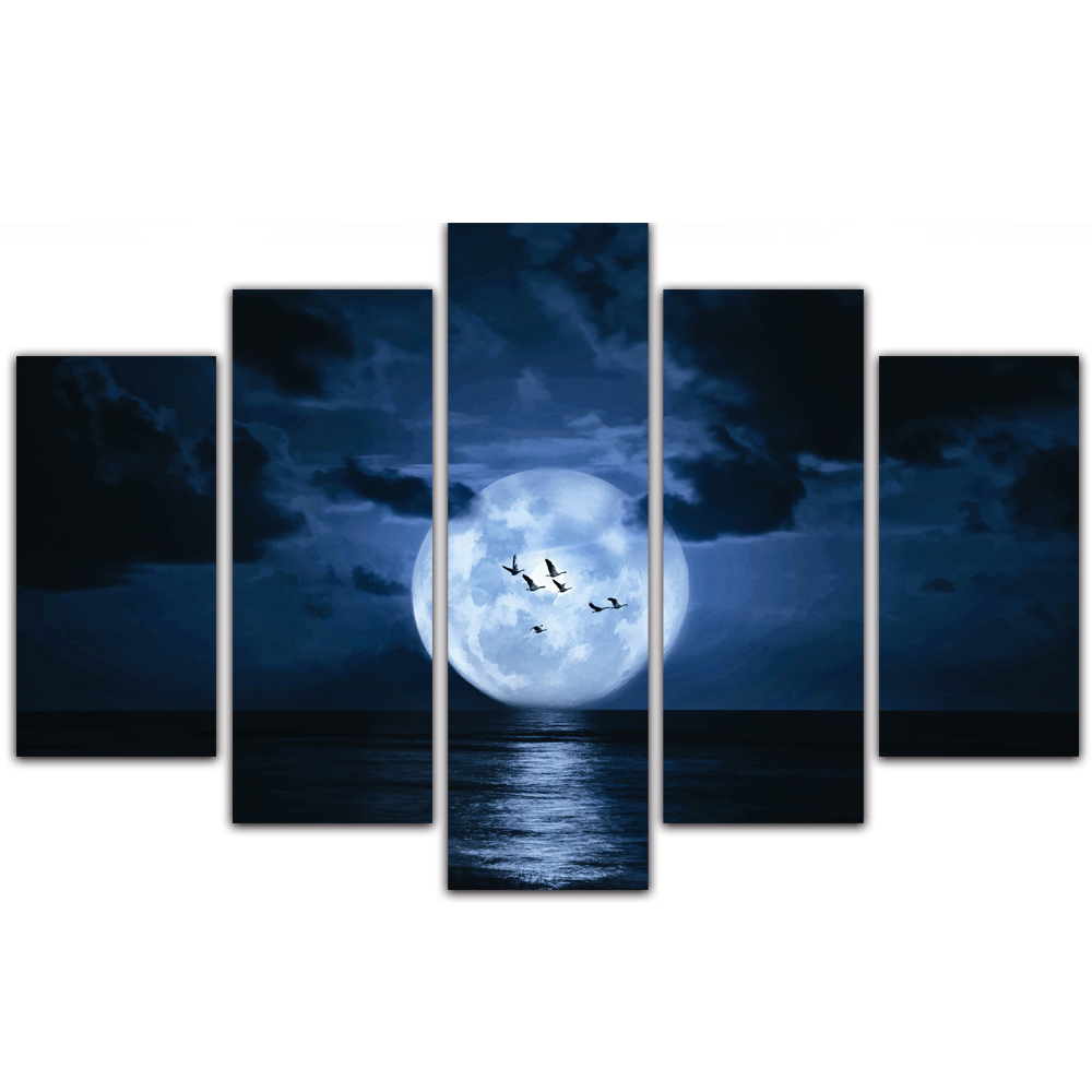 Unframed Canvas Painting Sea Level Full Moon Birds Photo Picture Prints Wall Picture For Living Room Wall Art Decoration