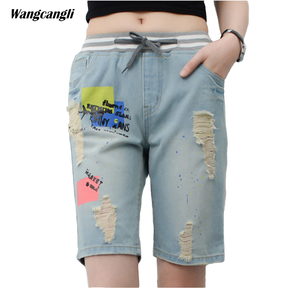 jeans women elastic waist large size fat sisters summer denim pants Lace up jeans shorts female ripped pattern XL 5XL wangcangli wangcangli jeans women shorts light blue large size denim fat sister elastic waist mid waist jeans moustache effect summer 4xl