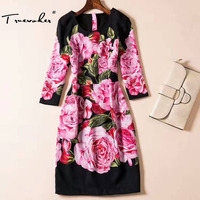 Summer Runway Designer Dresses Women S High Quality 3 4 Sleeve Vintage Fancy Peony Floral Printed