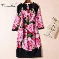 Truevoker Thiết Kế Dresses của Phụ Nữ Chất Lượng Cao 3/4 Tay Áo Ưa Thích Cổ Điển Hoa Mẫu Đơn Floral Printed Cộng Với Kích Thước XXL Đen Vestido