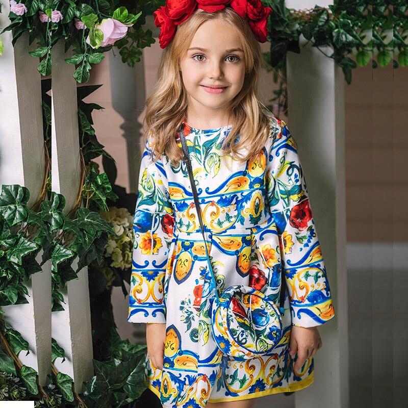 Girl Dresses 2017 Autumn Princess Dress with Bag Robe Fille Enfant Print Pattern Kids Clothes Girl Dress Long Sleeve