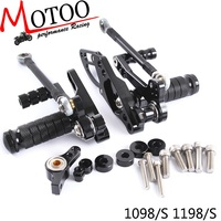 Motoo Full CNC Aluminum Motorcycle Adjustable Rearsets Rear Sets Foot Pegs For DUCATI STREETFIGHTER 2011 2014