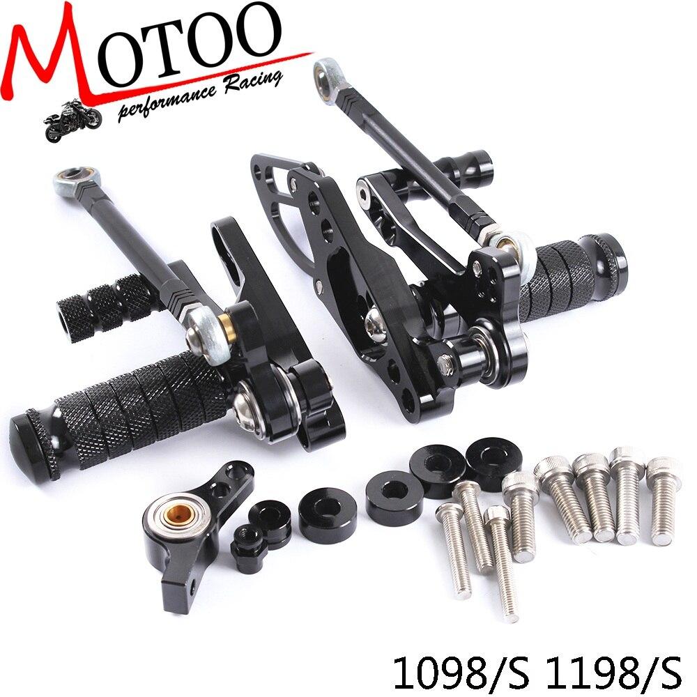 motoo conjuntos completos motocicleta de aluminio cnc rearsets ajustaveis traseiro pe pegs para a ducati streetfighter