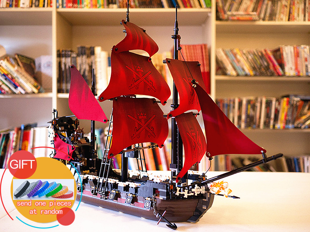 16009 1151pcs Queen Anne's revenge Pirates of the Caribbean Building  Set Compatible with 4195 toys lepin dhl lepin 22001 imperial warships 16009 queen anne s revenge model building blocks for children pirates toys clone 10210 4195