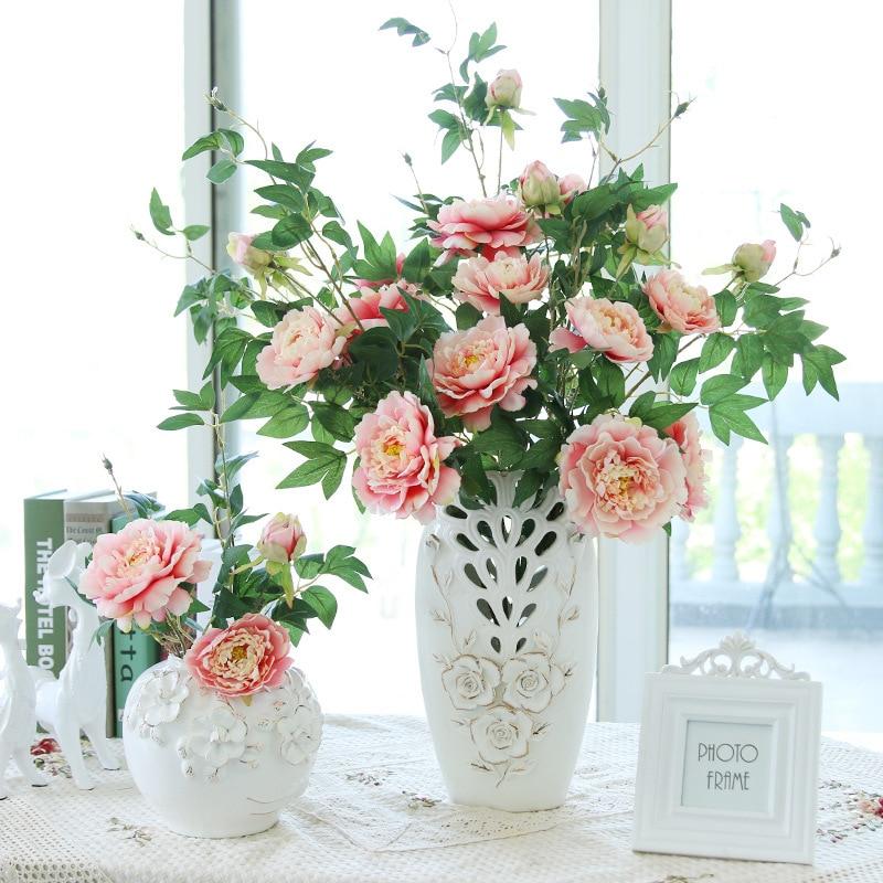 artificial flowers peony for home decoration silk peony flower arrangement bouquet wedding decor 90cm long 2pcs - Silk Arrangements For Home Decor