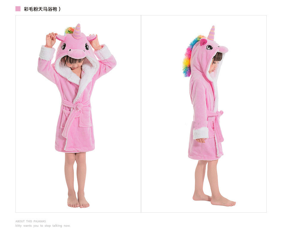 Children Towel Beach Baby Bath Robe Animal Rainbow Unicorn Hooded Bathrobes  New Boys Girls Pyjamas Nightgown Kids Sleepwear Robe 54f61791b