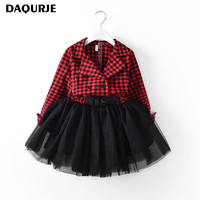 DAQURJE Autumn Girls Dress Casual Long Sleeves Cotton Kids Dresses For Girls 2 7y Plaid Mesh