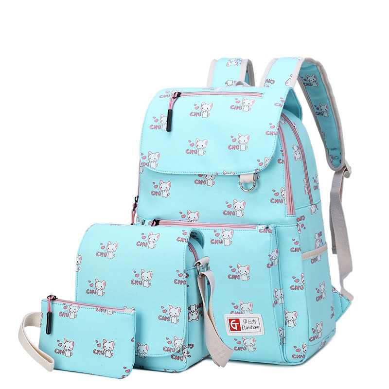 Canvas double shoulder bag Korean schoolbag cute fresh cartoon stamp junior high school student backpack three pieces set korean version canvas shoulder bag backpack student bag ladies cartoon cute new child birthday gift