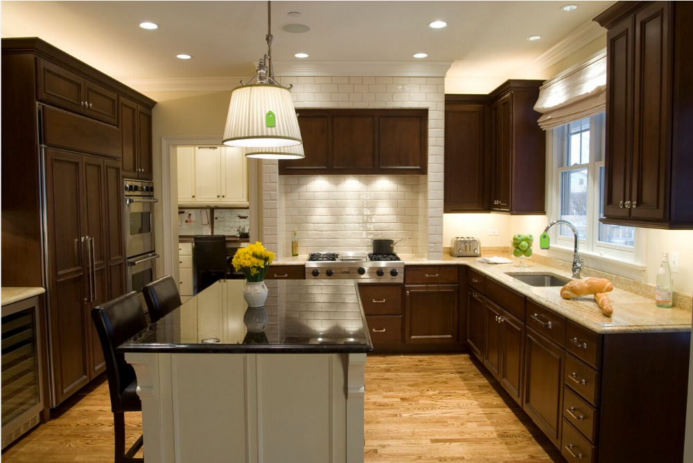 hot sales wood kitchen cabinets cheap priced solid wood kitchen furnitures traditional kitchen island with storage s1606007