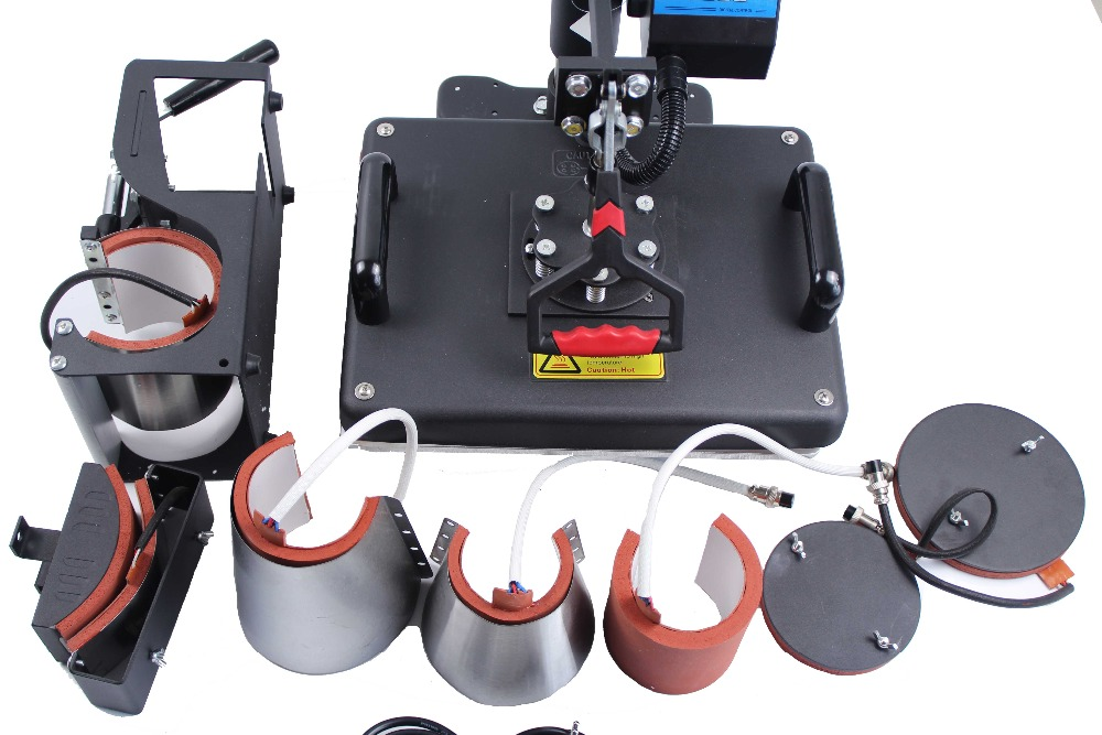 Free shipping 8 in 1 combo heat press machine for mug cap plate T shirt printing