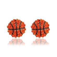 one pair fashion sport base ball/basketball/American football crystal women stud earrings xye165 american football ball 39 m 3xl