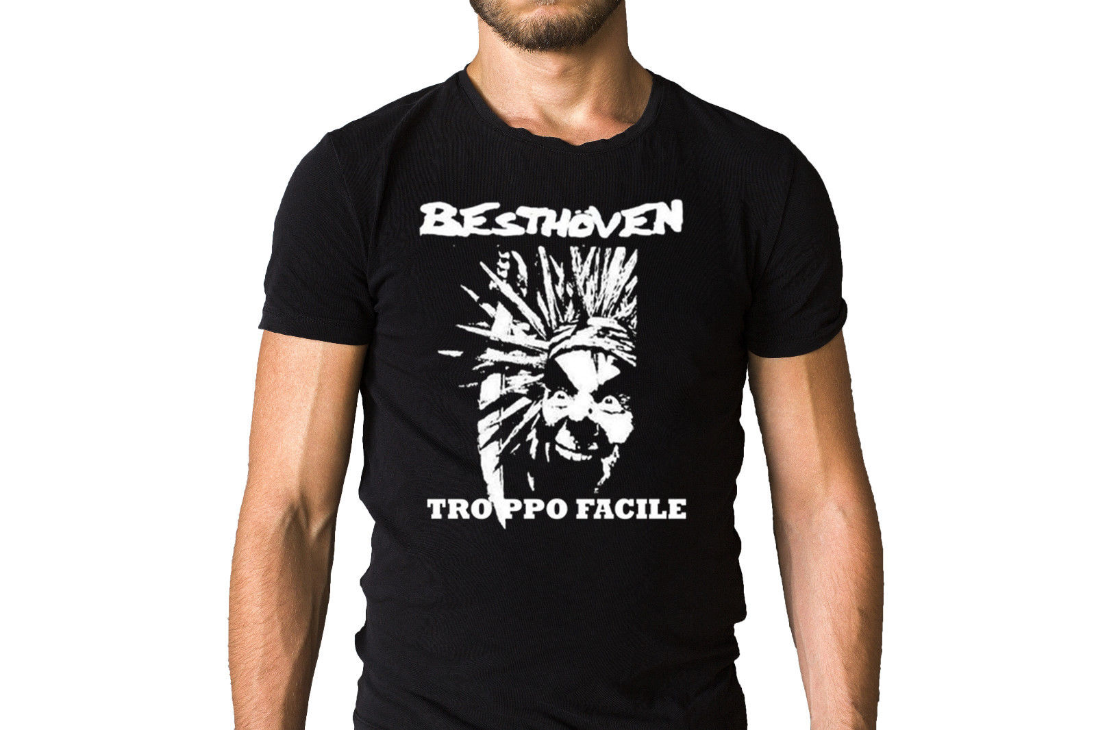 Besthoven Troppo Facile Punk Face T-Shirt 3D T Shirt Men Plus Size Cotton Tops Tee Round Neck Clothes Western Style