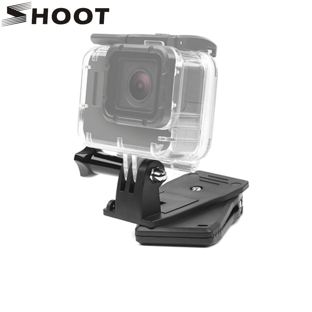 SHOOT 360 Degree Rotation Backpack Belt Clip Mount Clamp for Gopro Hero 6 5 7 4 Session Xiaomi Yi 4K H9 SJCAM SJ4000 Accessories
