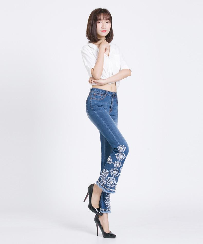KSTUN FERZIGE Jeans Women Summer Slim Stretch Embroidered Flares Bells Ankle Length Pants Manual Beads Light Blue Elegant Ladies Girl 13