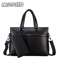 2017 MIWIND Handbag Fashion Simple Dot Famous Brand Business Men Briefcase Bag Leather Laptop Bag Casual