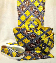 Africa Fashion Wax Fabric Shoes And Matching Bags Set Fashion Summer Shoes And Wax Fabric Bag And Fabric Set For Party DF-310
