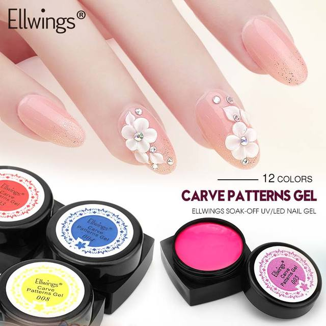 Ellwings Acrylic Nail Polish 12 Colors Painting Uv Gel Soak Off Sculpture Carved Glue