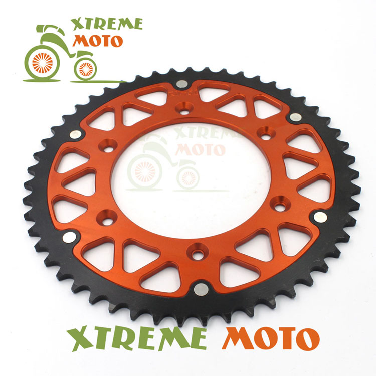 49T CNC Rear Chain Sprocket For KTM 125 150 200 250 300 400 450 520 525 620 690 EXC SX MXC XC XCW EGS SXF XCF XCWF MX SMR MSC orange cnc billet factory oil filter cover for ktm sx exc xc f xcf w 250 400 450 520 525 540 950 990