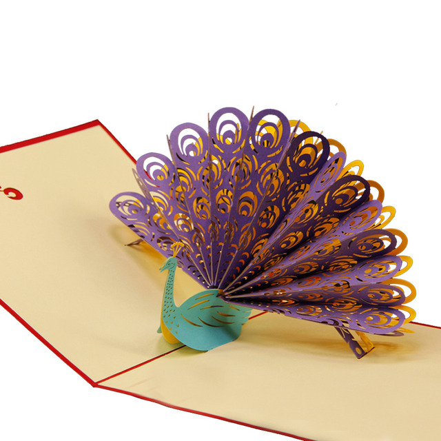 Amazing Cool 3D Pop Up Cards Custom Greeting Peacock In Red For Birthday Personalised Free Shipping 10pcs