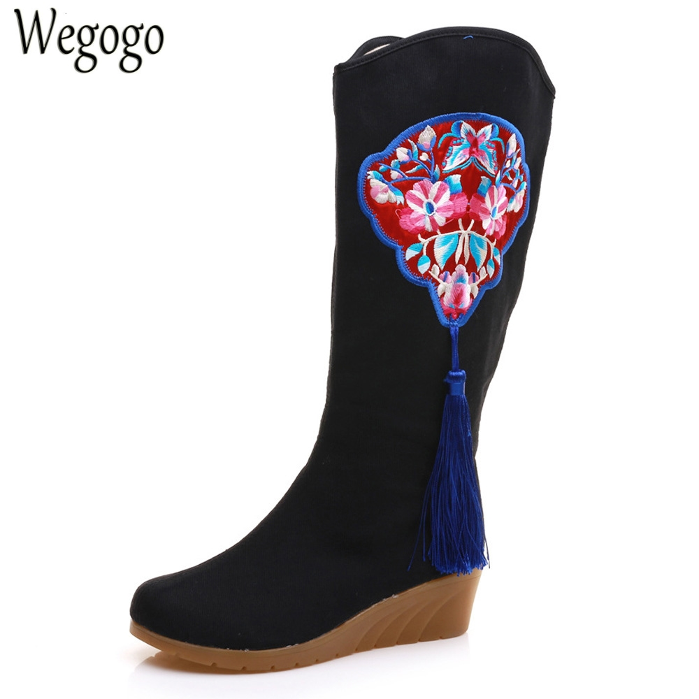 National Women Boots Floral Embroidered Tassel Canvas Cotton Tall Boots Ladies Hidden Wedges 5cm Heel Platform Shoes Botas Mujer vintage embroidery women flats chinese floral canvas embroidered shoes national old beijing cloth single dance soft flats