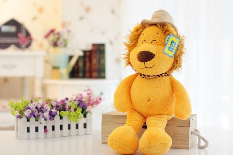 ФОТО 2015 new high quality scarf hat yellow lion animal plush toy big 58cm children birthday christmas gift free shipping hot 1pcs
