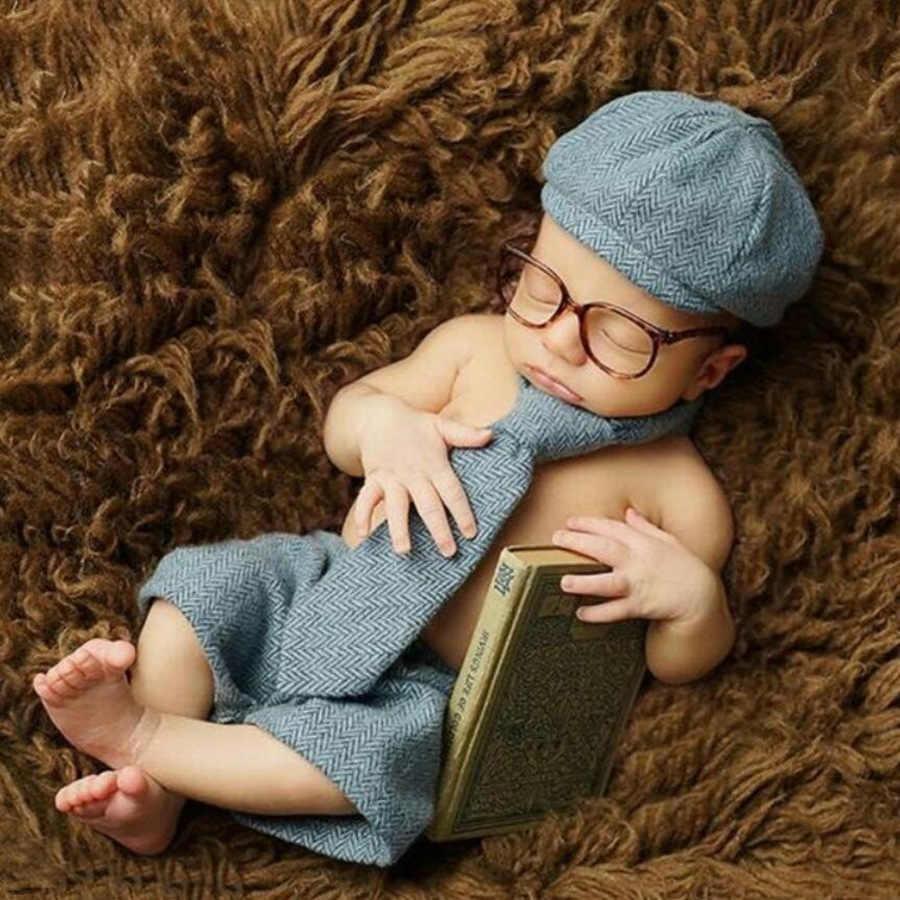 Bambino CALDO Ragazzo Hat + Tie + bicchierini + occhiali Newborn Fotografia Prop, Cappello Del Bambino Berretto Neonato Photography accessori Costume