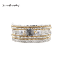 STRATHSPEY Multilayer Rhinestone Leather Bracelet With Magnetic Clasp For Women Vintage Handmade Druzy Wrap Wristband