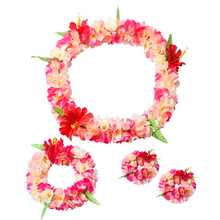 4 Pcs Hawaiian Anklet Hula Garland Floral Hairband Wreath Plastic Cloth Flower Lei Headband Birthday Party Dress Supplies