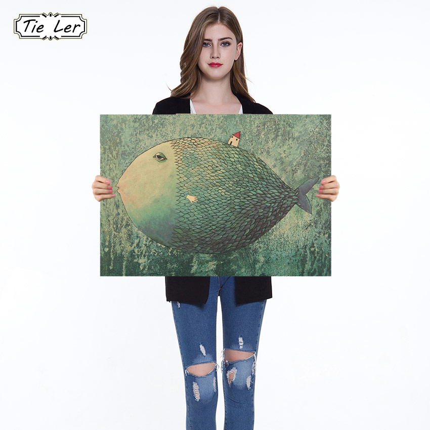 1PC Vintage Big Fish Small House Cartoon Illustration Kraft Paper Poster Bedroom Adornment Wall Sticker
