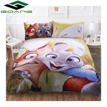 GOANG bedding Sets 3d bed sheet duvet cover pillow 100% polyester queen set Cartoon Crazy rabbit Child room decoration