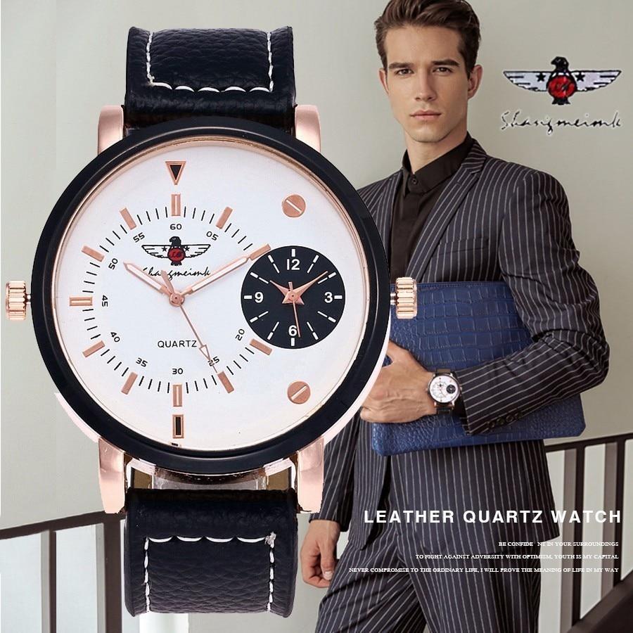 SHANGMEIMK Brand 2017 Popular Double Movement Noble Watch Men Quartz Wristwatches Military Business Watch Relogio Masculino
