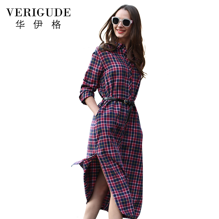 Veri Gude Long Plaid Shirt Dress Long Sleeve Women Cotton Long