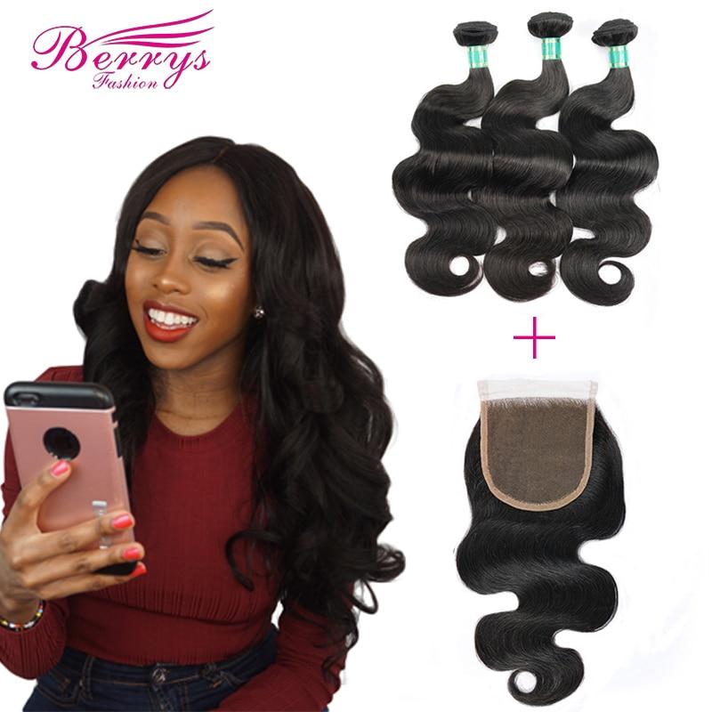 3 Bundles with Closure Brazilian Body Wave 8A Virgin Hair Weave Nature 1B 100 Human Hair