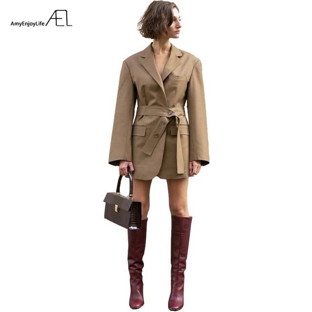 AEL באיכות גבוהה בד 2019 אביב סתיו נשים טרייל חליפות חאקי Loose עיצובים עסקים גבירותיי מקרית חליפות יומי בגדים