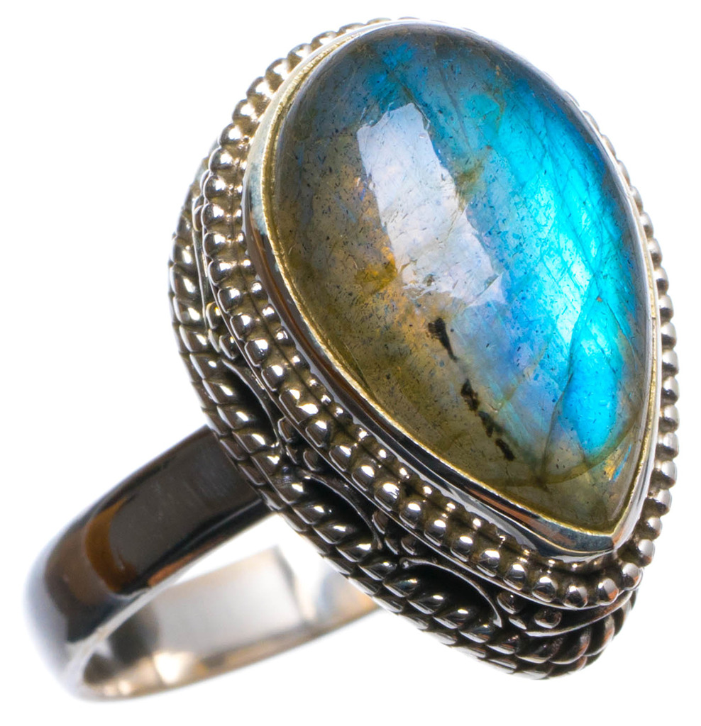 Natural Blue Fire Labradorite Handmade Unique 925 Sterling Silver Ring, US size 8.75 X2930 natural blue fire labradorite handmade boho 925 sterling silver earrings 1 25 u0962