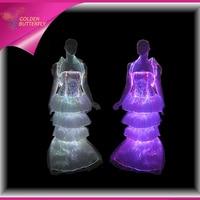 LED Evening Dress Dance Glowing Ballroom Dresses China Luminous Skirt Fiber Clothe Glowing Dress Sexy For Women Dance Clothes