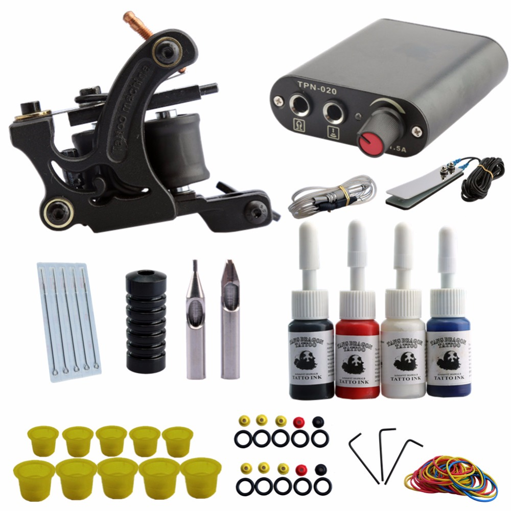 Completed Tattoo Machine Kit 10 Coils Guns Set 4 Colors Ink Black Pigment  Sets Power Tattoo Beginner Grips Kits Permanent Makeup-in Tattoo Kits from  ...