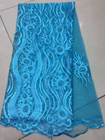 Hot sell High Quality light blue 3D flowers French Lace Fabric African Tulle Lace Fabric with Stones and beads For Wedding