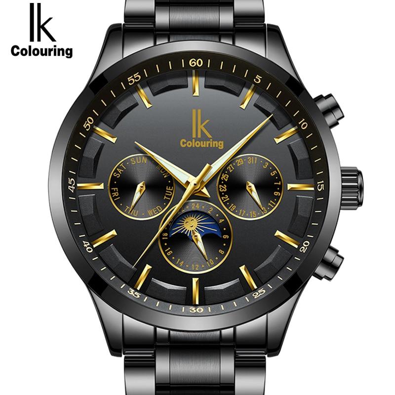 IK Подлинная новая мода Автоматический Self-Wind для мужчин часы Полный сталь и натуральная кожа Moon Phase Multi-Functional роскошные часы для мужчин