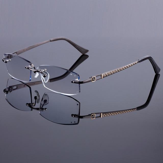 Stylish Design Women Rimless Frame Men Titanium Alloy Glasses Frame Diamond Trimming Cut Rimless Glasses With Gradient Tint Lens