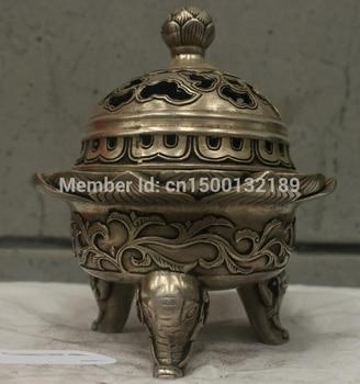 xd 0046 Chinese Folk Culture Handmade Old Bronze Silver Statue incense burner Sculpture
