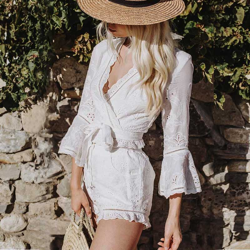 Boho Inspired summer white cotton Top and shorts Set