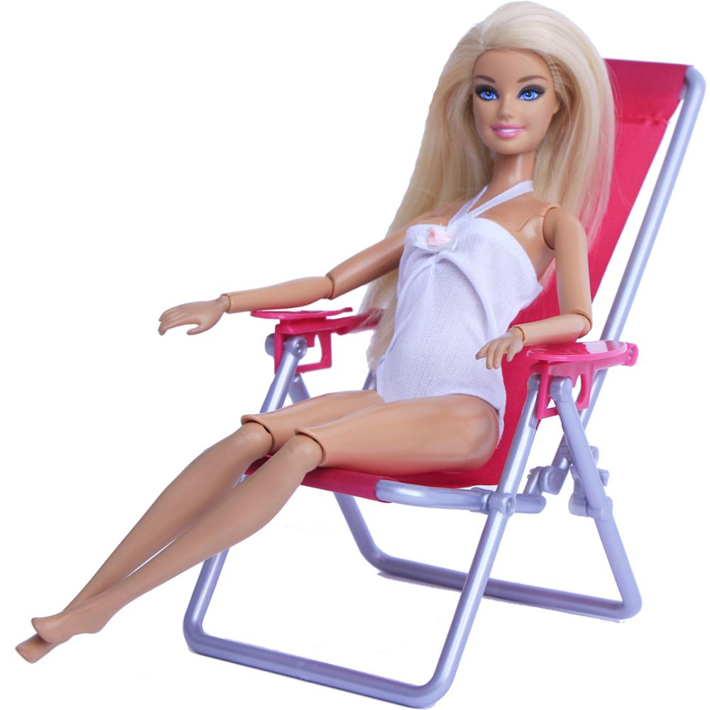 <font><b>1</b></font>:<font><b>6</b></font> <font><b>Scale</b></font> Dollhouse Furniture Swim Foldable Deckchair <font><b>Accessories</b></font> For Barbie Doll For Blythe House Lounge Pink Rose Beach Chair image